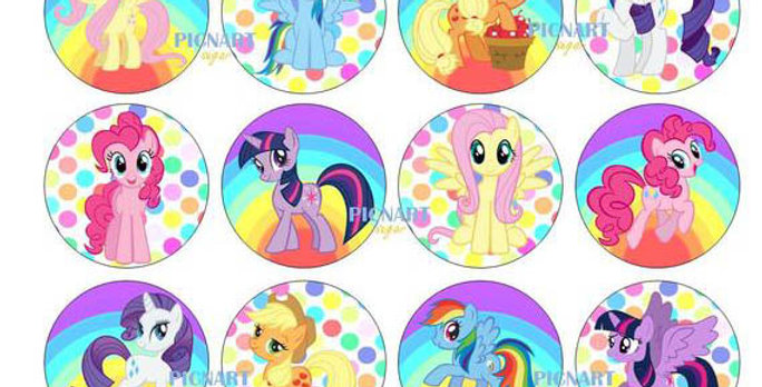 Little Pony Inspired Edible Icing Paper Cupcale Toppers