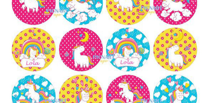 Personalised Unicorn Edible Icing Paper / Frosting Sheet Cupcake Toppers, Cake T