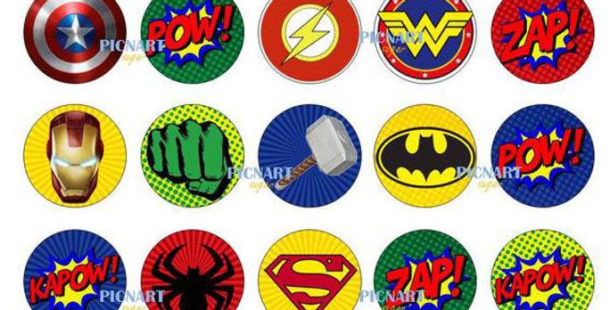 Personalised Superhero Themed Edible Pre Cut Icing Paper Cake and Cupcake Topper