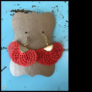 Faux Suede Fan Shape Coral Tassel Earrings