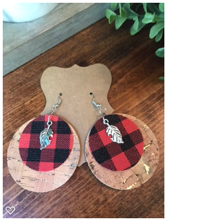 Cork Board and Red Buffalo Print FAUX Leather Circles w/pendant Light Weight