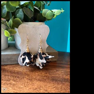 Leopard Flower Tassel Earrings