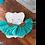 Thumbnail: Teal and Gold Fan Tassel Earrings