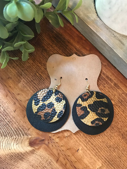 Leopard and Black FAUX Leather Circle Layers Light Weight
