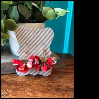 Red Flower Fan Tassel Earrings