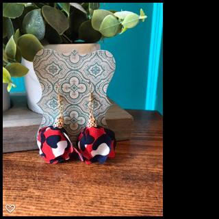Red/Navy Flower Tassel Earrings