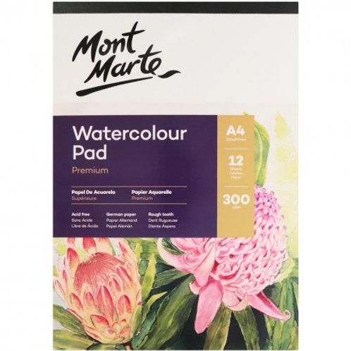 Mont Marte Watercolour Pad German Paper A4 300gsm 12sht