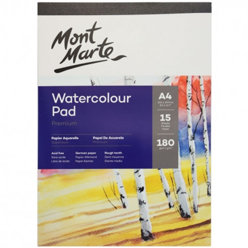 Mont Marte Watercolour Pad German Paper A4 180gsm 15 Sheet