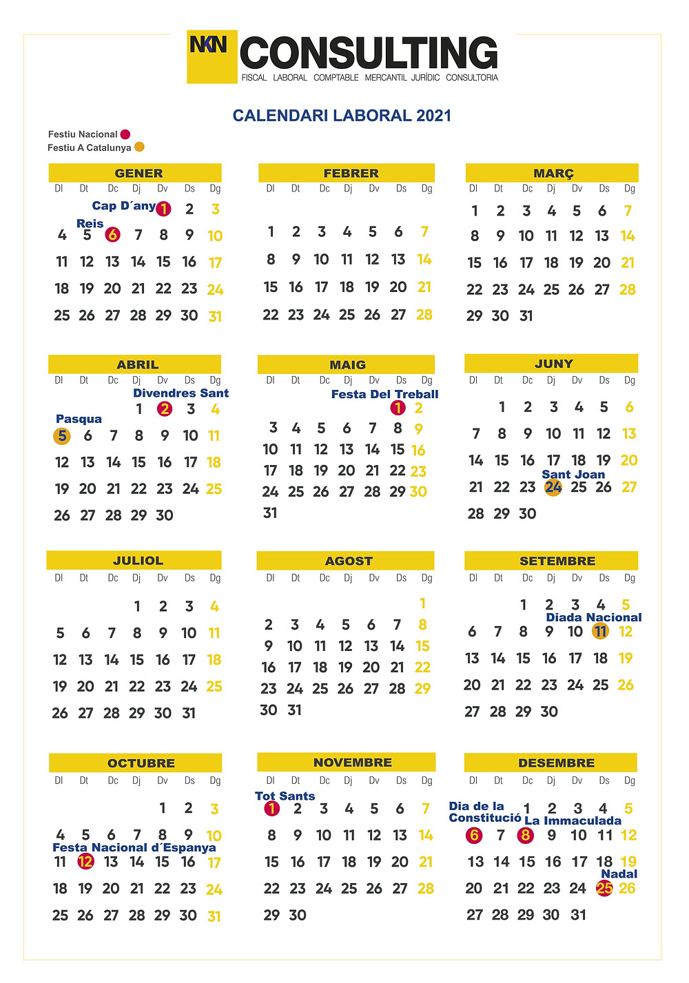 Calendario Laboral 2021 en Catalunya