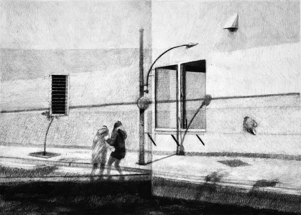 Sans-titre, 2018, fusain et crayon sur papier, 40 x 60 cm Collection particulière
