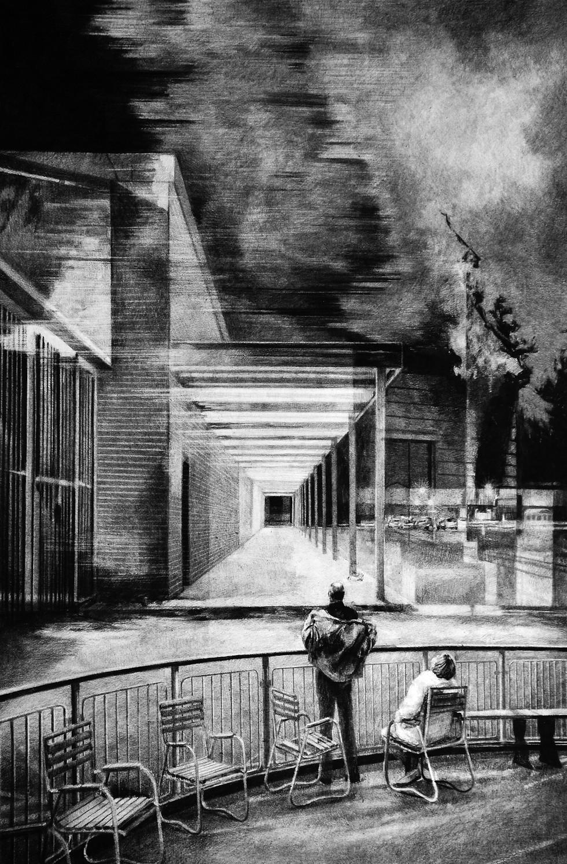 Sans-titre, 2018, fusain et crayon sur papier, 100 x 70 cm