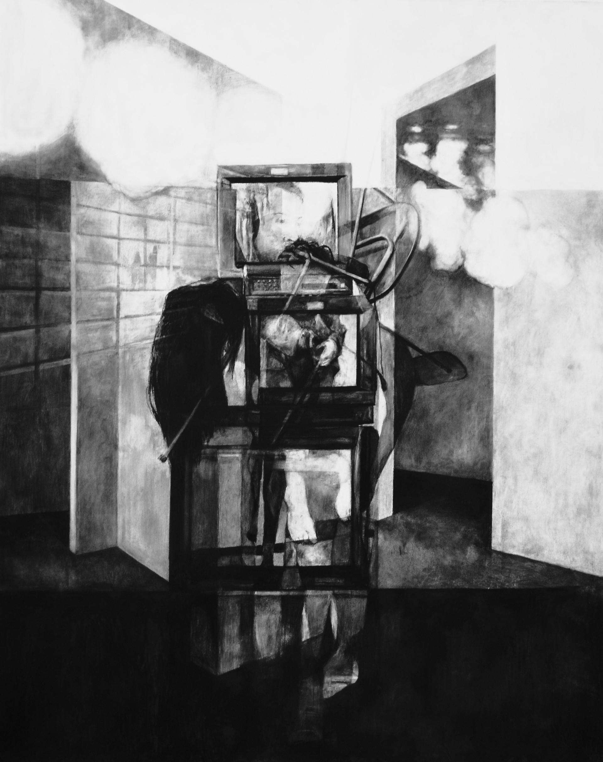 Sans-titre, 2015, fusain et crayon sur papier, 160 x 120 cm