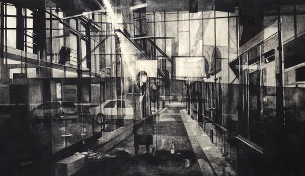 Midnight, 2015, fusain et crayon sur toile, 114 x 195 cm