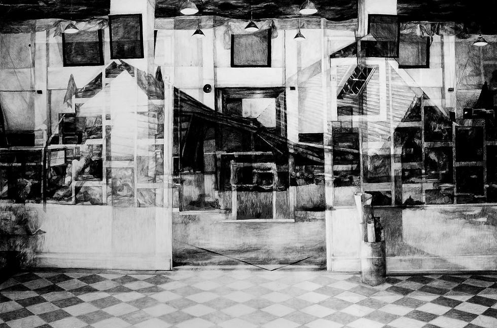 Vestiges, 2015, fusain et crayon sur papier, 80 x 115 cm