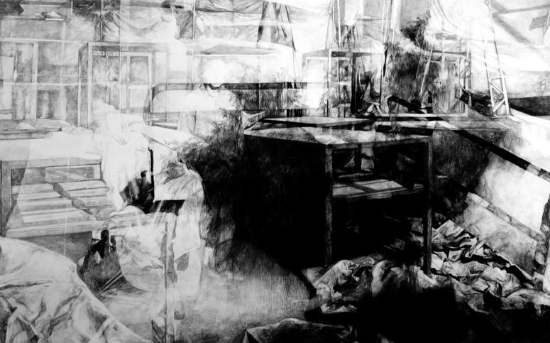 Atelier, 2015, fusain et crayon sur papier, 70 x 100 cm
