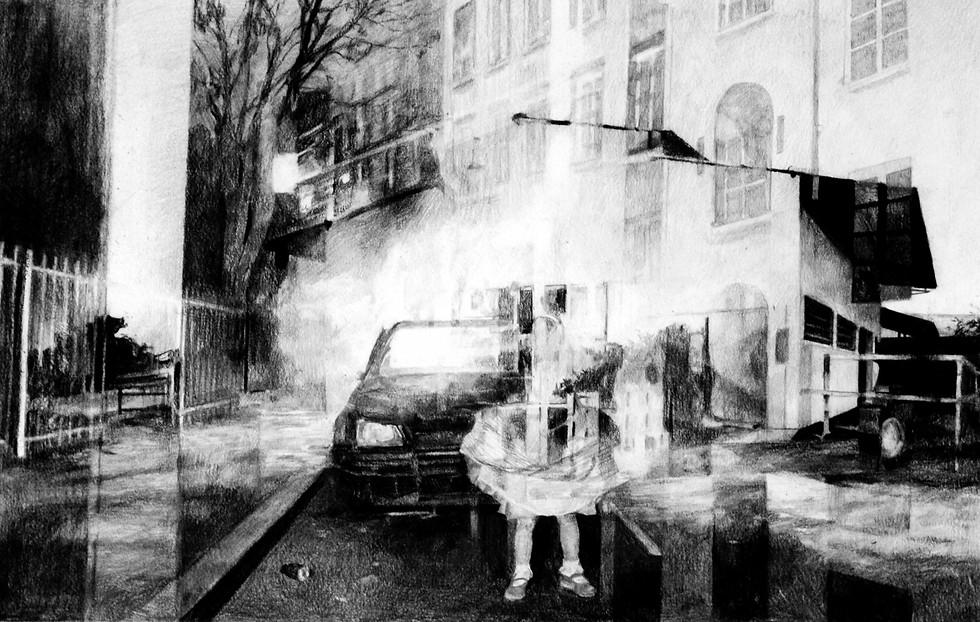 Sans-titre, 2015, fusain et crayon sur papier, 40 x 60 cm