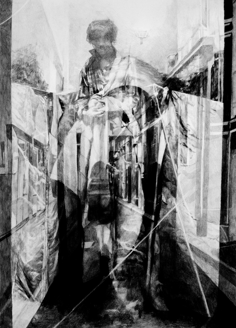 Sans-titre, 2015, fusain et crayon sur papier, 70 x 50 cm