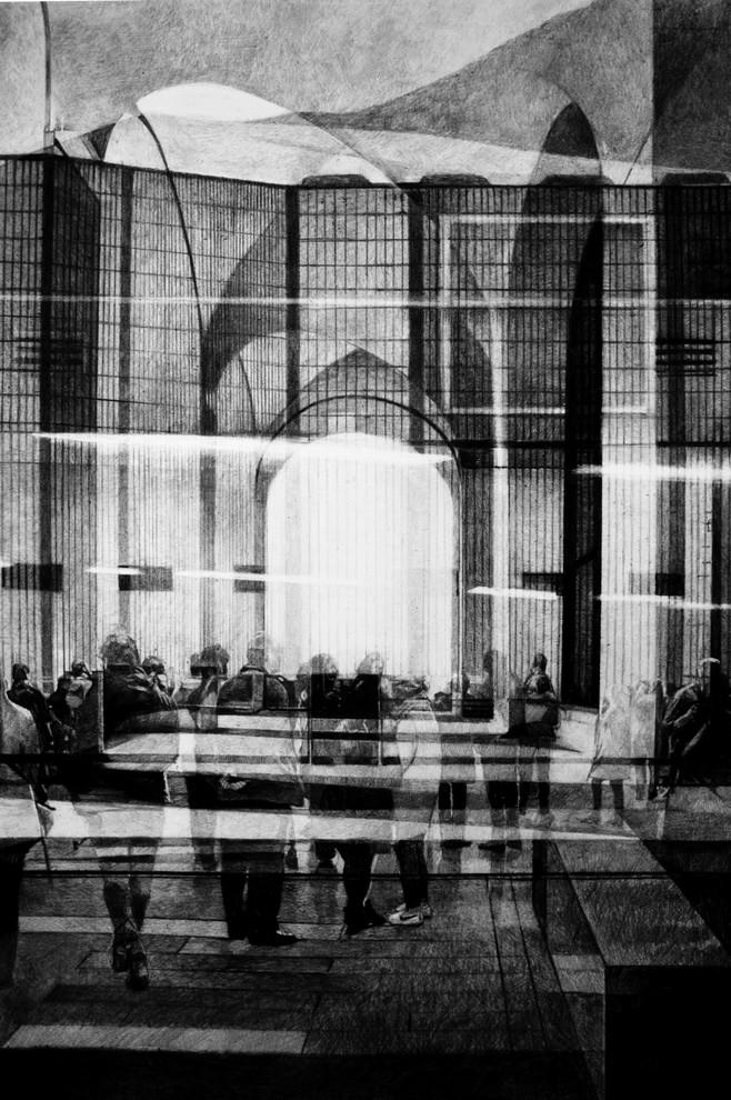 Sans-titre, 2019, fusain et crayon sur papier, 100 x 70 cm
