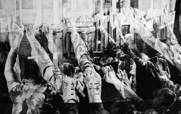 Sans-titre, 2015, fusain et crayon sur papier, 80 x 120 cm