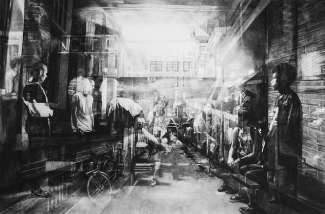 Night-club, 2015, fusain et crayon sur papier, 80 x 117 cm