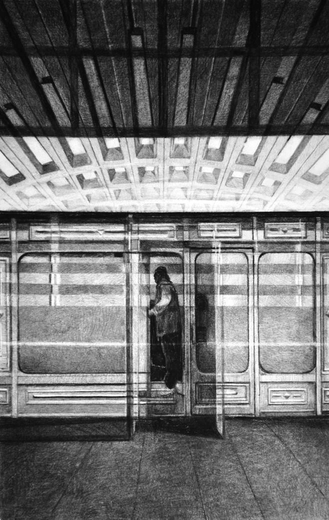 Sans-titre, 2019, fusain et crayon sur papier, 60 x 40 cm