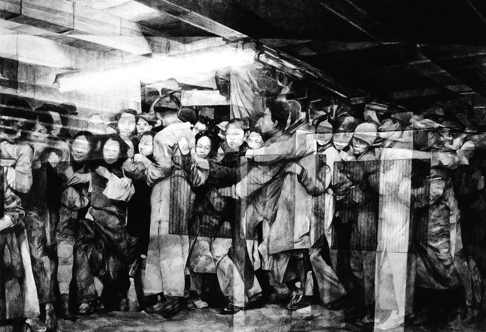 Foule, 2016, fusain et crayon sur papier, 70 x 100 cm