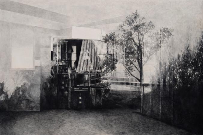 Sans-titre, 2016, fusain et crayon sur toile, 130 x 195 cm