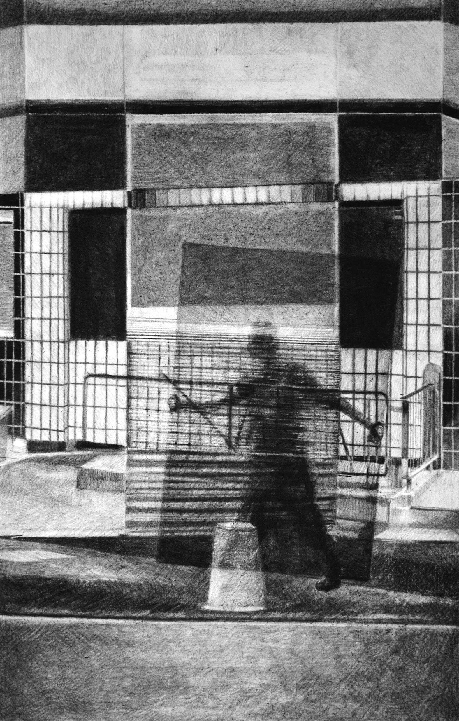 Sans-titre, 2018, fusain et crayon sur papier, 60 x 40 cm
