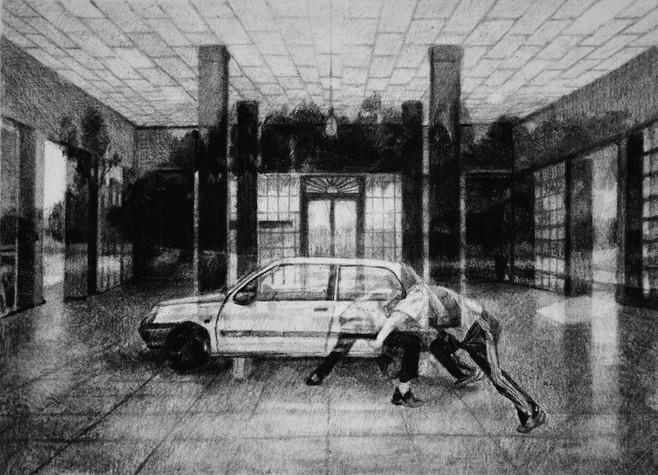 Sans-titre, 2018, fusain et crayon sur papier, 30 x 40 cm