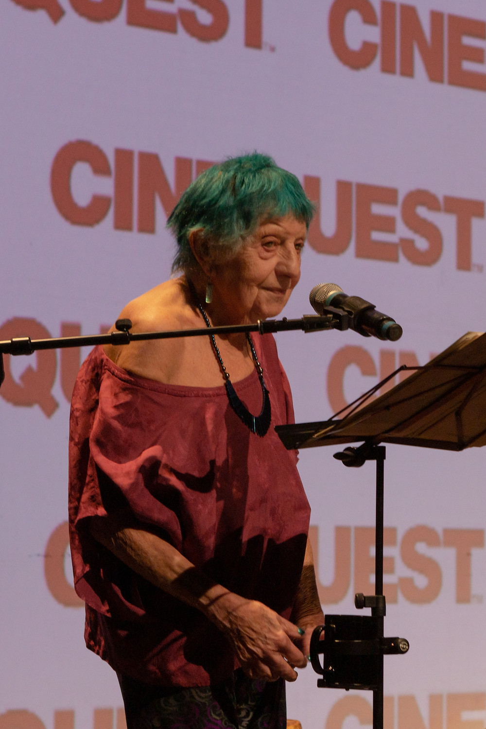 ruth weiss performing at Cinequest Film Festival. Photo by Daniel Nicoletta