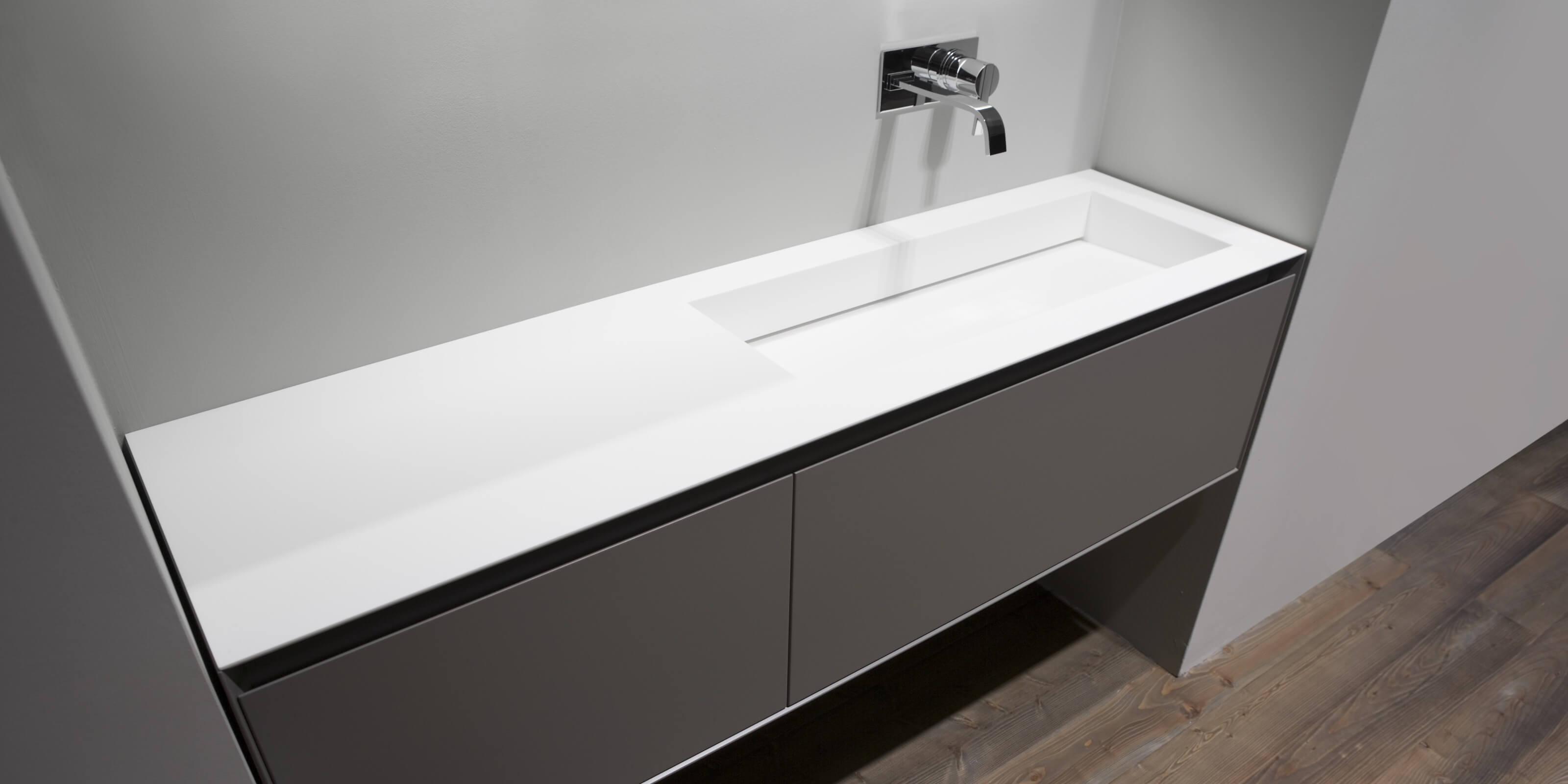 Piano Lavabo In Corian teknoserstone | corian banyo| gizli giderli lavabo|akrilik