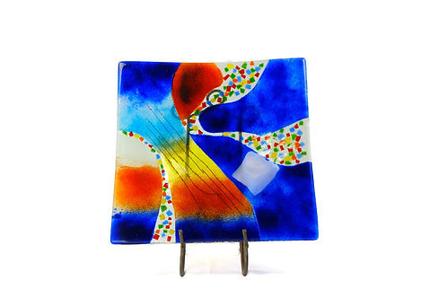 Jasmine Art Glass Square Plate