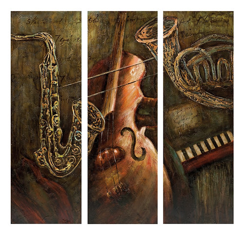 Jazz Notes Oil Paintings - Set of 3
