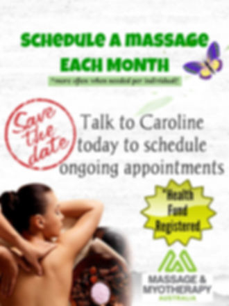 Schedule a massage each month, weekly massage, fortnightly massage, monthly massage, health fund registered, remedial, relaxation, pregnancy, aromatherapy, cupping.