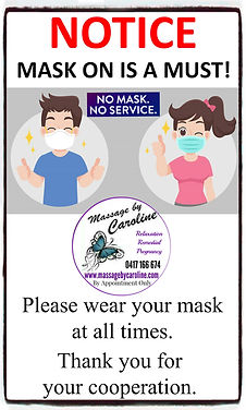 Notice Mask on is a must Please wear you