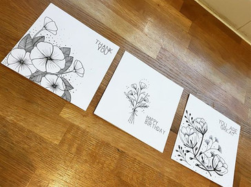 Black & white greetings cards
