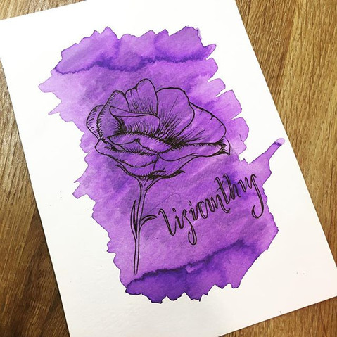 Floral watercolour & ink
