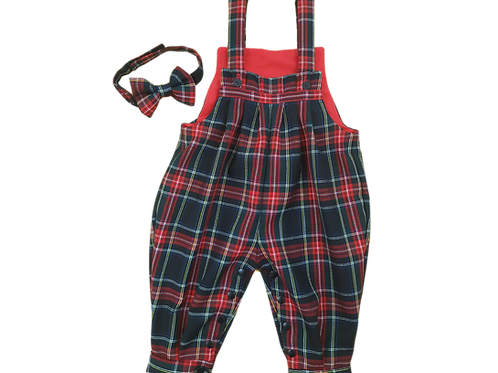 Dungarees - Romper- Bow Tie- Tartan outfit
