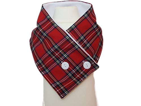 Adult Tartan Neck Wrap Scarf with Buttons