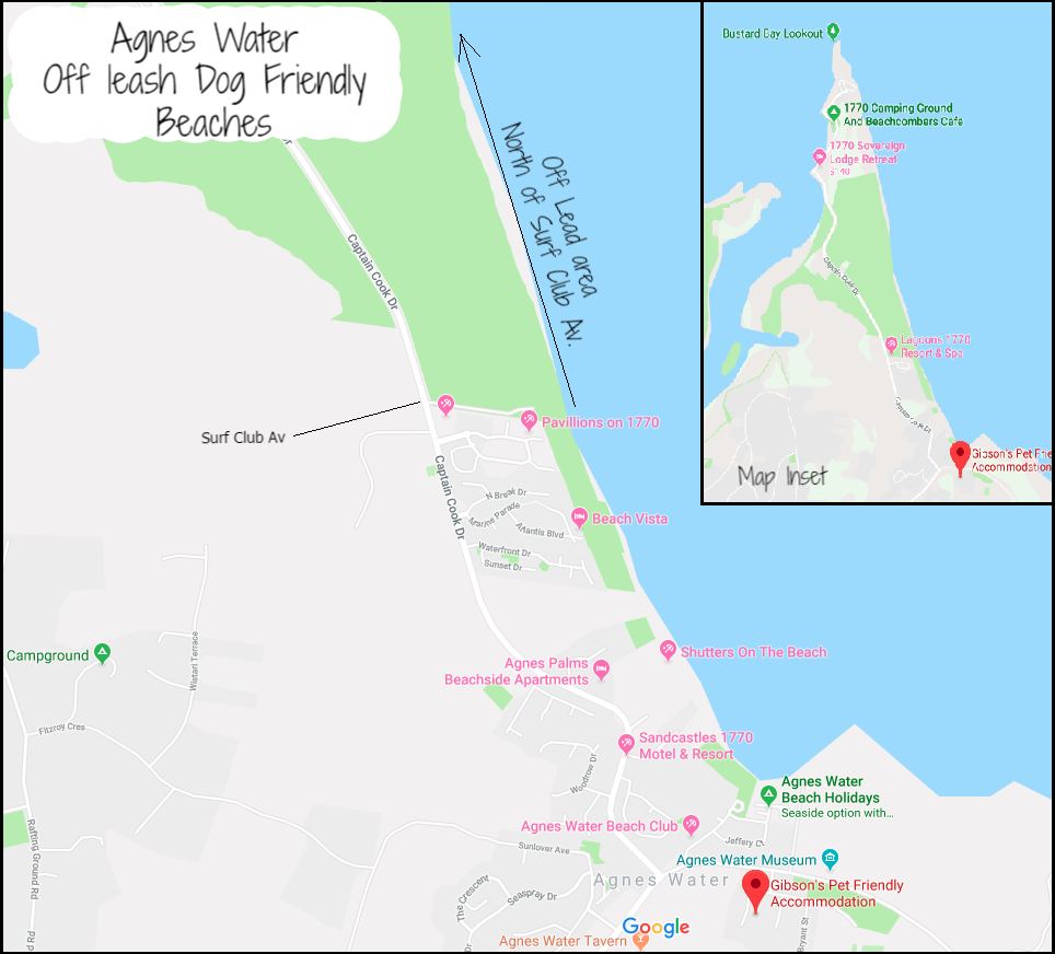 Agnes Water 'Off - Leash' Dog Beach Beach Map