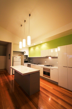 Open plan Kitchen with basic condiments