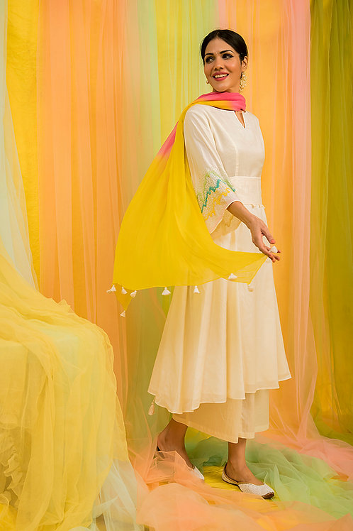 Off-white Kurta,Palazzo & Multi colour dupatta Set