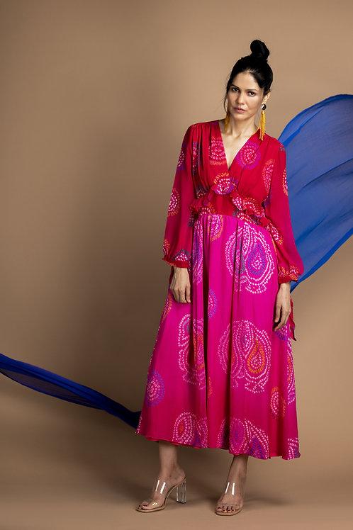 Pink Overlap Bandhani Paisley Dress