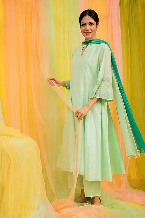 Green Kurta,Palazzo & Shaded dupatta Set