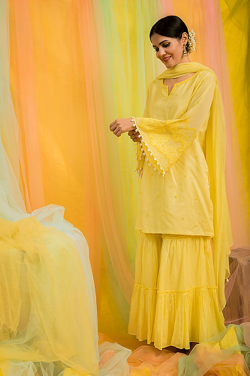 Yellow Kurta, Sharara & Dupatta Set