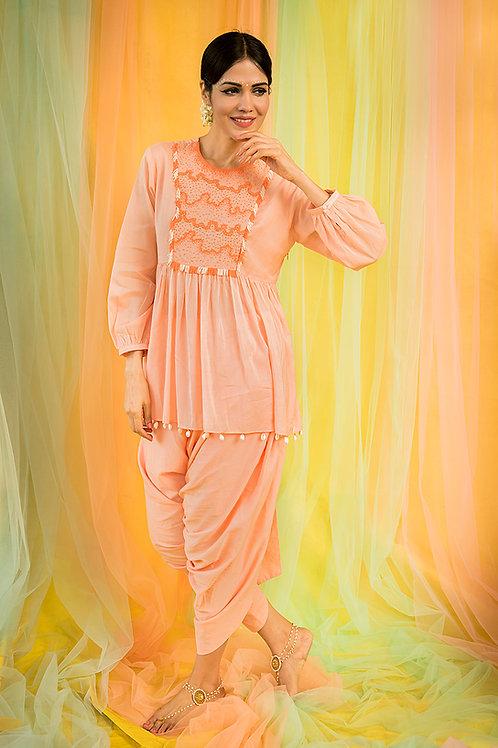 Peach Short Kurta & Dhoti
