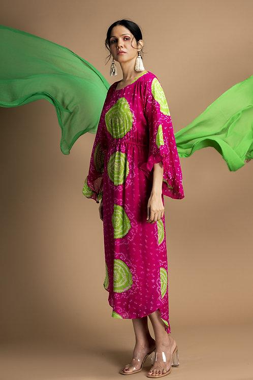 Pink Swirl Bandhani Kfatan Dress