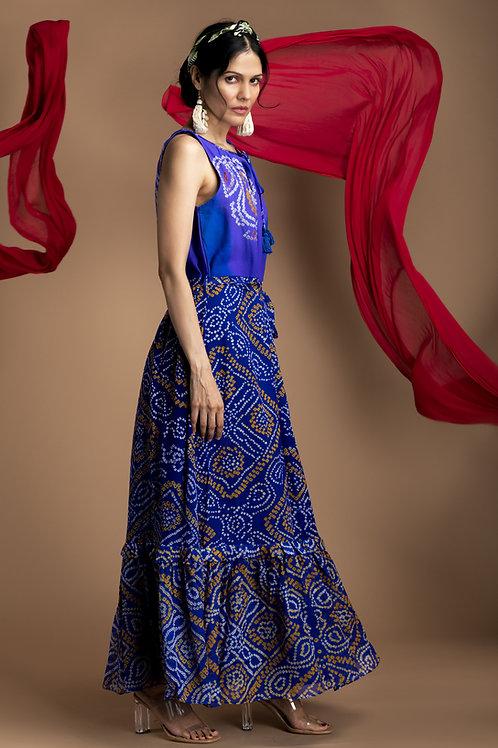 Blue Bandhni Rangara Maxi