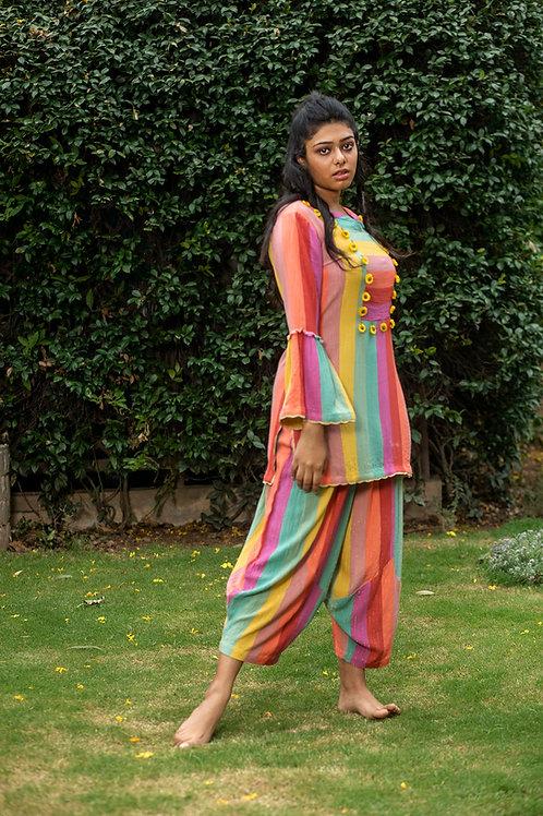 Colour Drip Short Kurta & Dhoti Pants
