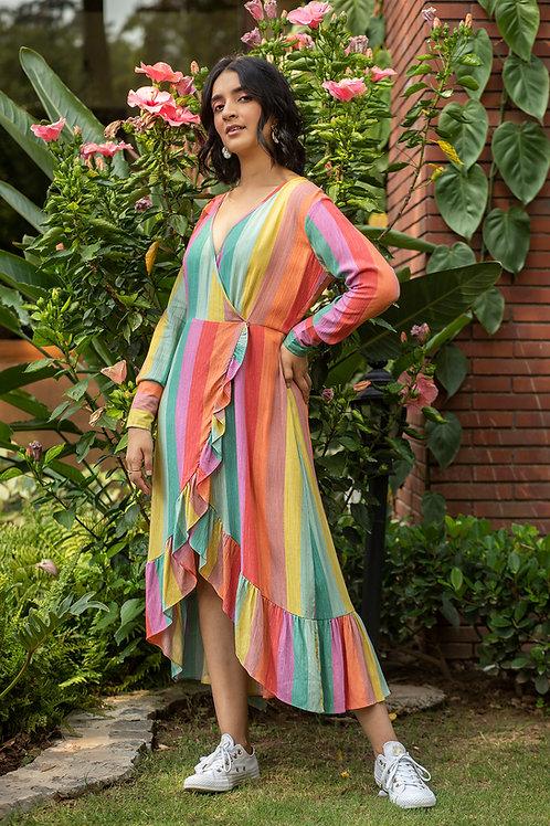 Colour Drip Wrap Dress